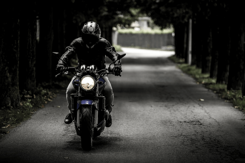 motorcycle rider with a good vibe